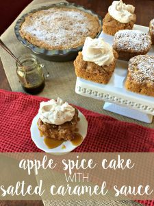 Make this ultra-easy, and simply delectable apple spice cake with a salted caramel sauce in no time at all! The best part: the cake only has 3 ingredients!